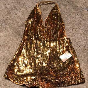 Forever 21 Gold Sequined Romper
